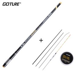 rig floats Canada - Goture 3.6-7.2M Telescopic Fishing Rod 2:8 Super Hard Light Weight Strong Stream Hand Fishing Pole Float Carp Fishing Rig Set