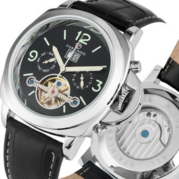 Unique Watches For Men Australia - Classic Automatic Mechanical Watches Casual Black Leather Band Watch for Men Unique Luminous Arabic Numerals Dial with Calendar Wristwatch