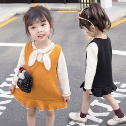 years old baby girl dresses NZ - 2019 New Spring and Autumn suit Girls' Knitting dress Two-piece set of 1-4-year-old Baby Leisure T shirt Children's suit Tide