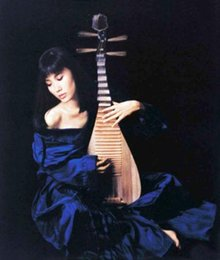 $enCountryForm.capitalKeyWord Australia - Beautiful Chinese young woman playing Pipa in blue dress Handpainted & HD Printed Portrait oil painting Wall Art On Canvas Multi Sizes P169