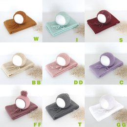 Cotton Knit Baby Bonnets Australia - New Born Set Vintage Baby Bonnet Stretch Knit Wrap Newborn Hat Cap Photography Prop Layering Fabric Swaddling Blanket Q190531