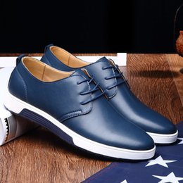 male tennis shoes NZ - Solid comfortable pu leather men casual shoes Flat shoes men 2019 new lace-up fashion male tennis mans footwear plus size