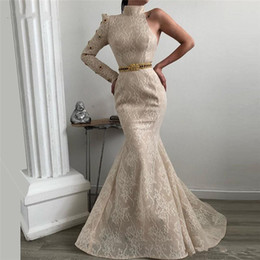$enCountryForm.capitalKeyWord UK - African Dubai Lace Beading Evening Dresses High Neck Robe de soiree Aibye Muslim Turkish Prom Pageant Gown With One Sleeves Abendkleider