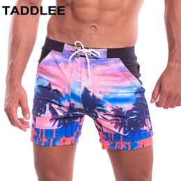 Wholesale men's swimsuits resale online - Taddlee Brand Men s Swimwear Swimsuits Sexy Swim Boxer Trunks Short Surf Board Shorts Bathing Suits Pockets Long Swim Trunks New