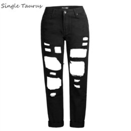 distressed ripped jeans for women UK - Ripped Jeans for Women Fashion Streetwear Hollow Out Straight Denim Pants Mujer Mom Distressed Jeans Femme Loose Boyfriend Jean