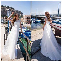 $enCountryForm.capitalKeyWord Australia - Romantic Jewel Collar Cap Sleeve Wedding Dresses Customized Lace Applique Sexy Back Bridal Gown Robe de Mariee 2019