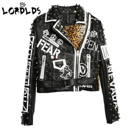 $enCountryForm.capitalKeyWord Australia - Lordxx Black Leopard Leather Jacket Women 2018 Autumn Winter Fashion Turn-down Collar Punk Rock Studded Jackets Ladies Coats Y190826
