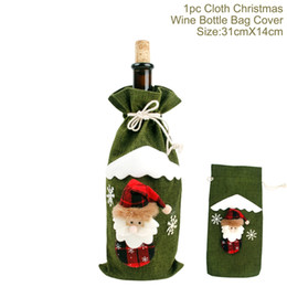$enCountryForm.capitalKeyWord Australia - Christmas Red Wine Bottle Cover Decoration Sequin Embroidery Drawstring Santa Claus Gift Bag Dinner Party Table Decoration