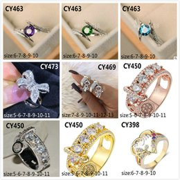$enCountryForm.capitalKeyWord Australia - 2019 New two-color pendant ring Best selling creative boy and girl jewelry fashion Europe and America ladies jewelry bow ladder diamond ring