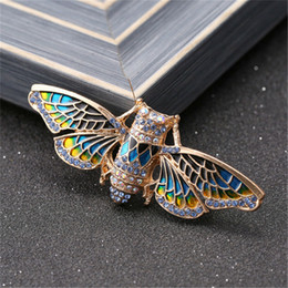 paintings american indians Australia - Fashion Jewelry Egyptian Cicada Moth Crystal Rhinestone Enamel Paint Golden Tone Bug Pin Brooches