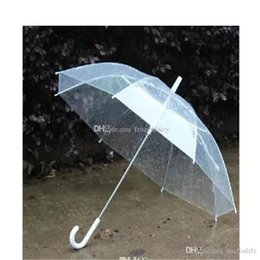 umbrella brolly Canada - 100pcs Free Shipping Large Clear Dome See Through Umbrella Handle Transparent Walking Brolly Ladies a79-a86