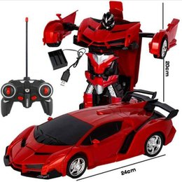dc figures 2019 - New RC Car Sports Car Models Transformation Robots Remote Control Deformation Car RC Robots Kids Toys Gifts Baby Toy Fig