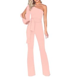 $enCountryForm.capitalKeyWord NZ - Women Solid Long Sleeve Cold Shoulder soft and comfortable Jumpsuit Casual Clubwear Wide Leg Pants L50 0213