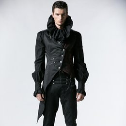 Gothic Chains Australia - PUNK RAVE Men's Vest Steampunk Winter Men Vintage Gothic Vest Jacket Black Sleeveless Single Breasted Asymmetric Waistcoat