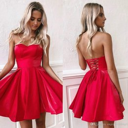Wholesale shortest prom dresses resale online – 2020 Little Red Mini Short Party Dresses New Cheap Sweetheart A Line Satin Corset Back Short Prom Dress Cocktail Party Dress BM0940
