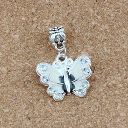 wholesale charms NZ - 50pcs lots White Enamel Butterfly Dangle Charm Beads Fit Charm necklace DIY Accessories 22x32.5mm A-510a