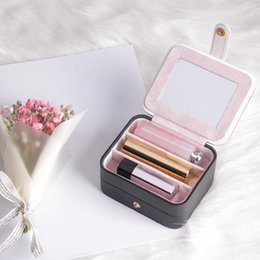 Small diSplay caSeS online shopping - Portable Travel Small Jewelry Box Storage Organizer Box with mirror Inside Velvet Necklace Earrings Organizer Display Gift Case