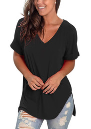 cotton tunic tee NZ - Womens Summer V Neck Short Rolled Sleeve Side Split T Shirts Tunic Tops Cute Tees Loose Fitted Henley Workout Shirts