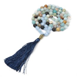$enCountryForm.capitalKeyWord UK - Fashion 8mm Natural Amazonite Stone Hand Beaded Buddha Head Tassel Necklace Sweater Chain Yoga 108 Mala Meditation Women Jewelry