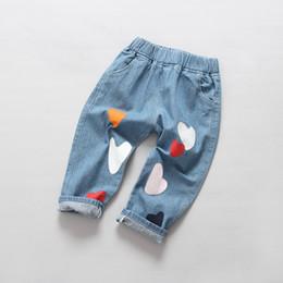 Plaid Kids Jeans Australia - kids boys girls jeans baby love printed casual denim blue jean children spring summer fashion trousers toddler harem pants 2-6T
