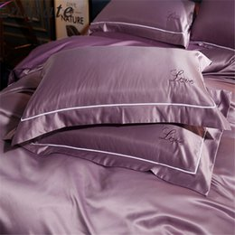 $enCountryForm.capitalKeyWord Australia - Enipate 1 Pair Luxury Embroidery Pillow Cases Washed Silk LOVE Super Soft Couple Pillowcase Bed Pillow Covers 48*74cm Home Bedroom Decor