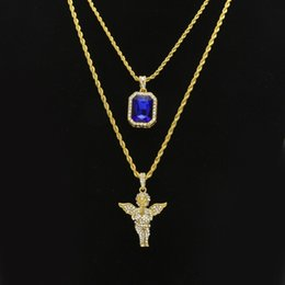 $enCountryForm.capitalKeyWord Australia - Women Men Hip Hop Golden Bling Rhinestone Necklaces Pendants Set Micro Angel Jesus Wings Praying Hands Jewelry Gifts Chains C19041601