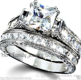 $enCountryForm.capitalKeyWord NZ - Luxury 10KT white gold filled Wedding Gemstone Finger Ring Set for Women bijoux for lady Vintage Shiny Simulated Diamond CZ Jewelry