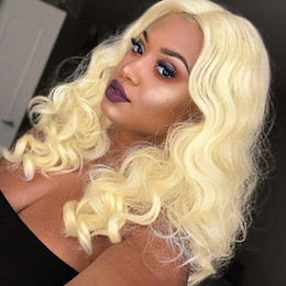 blonde body wave full lace UK - Unprocessed Peruvian Malaysian Indian Body Wave 613 Blonde Human Hair Wig Lace Front Wig Full Lace Wigs Pre Plucked For Black Women