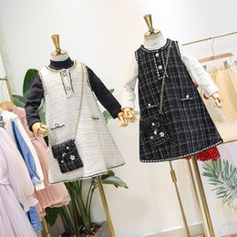 $enCountryForm.capitalKeyWord Australia - Lady style children princess outfits kids long sleeve bottoming T-shirt+plaid vest dress+stereo flower beaded chain bag 3pcs sets F9092