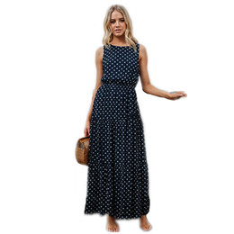 $enCountryForm.capitalKeyWord Australia - Fashion Dress Women Polka Dot Summer Bandage Dress Sleeveless Sexy Button Vintage Long Beach Dress Elegant Ankle Length Dresses