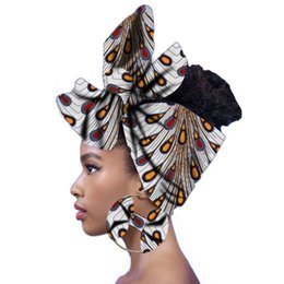 China African Women Headwrap Print Scarf Turban Fashion Headtie with Matching Earring cheap african scarfs suppliers