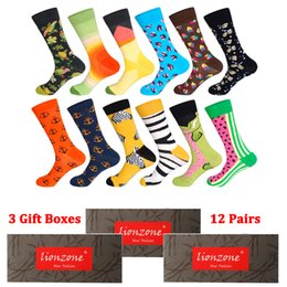 total packs Australia - 3 Gift Boxes Total 12 Pairs Men Funny Colorful Combed Cotton Socks Dozen Pack Casual Dress Wedding Happy Socks