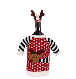red striped christmas dress Australia - Christmas Dress Christmas Cute Deer Style Knitting Wool Red Wine Bottle Cover home Decoration 5ZHH106