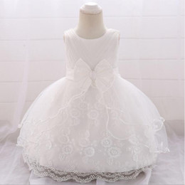 White Clothes For Baptism Australia - 2019 New Cute 1 Year Birthday Baby Girl Dress For Baptism Beading Infant Princess Lace Bow Christening Gown Newborn Toddler Summer Clothes