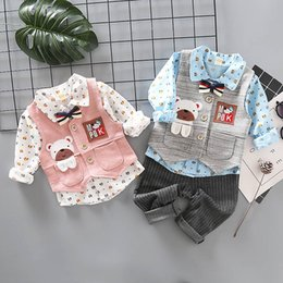 Korean Toddler Shirt Australia - Korean Boys Clothing Sets cute Cartoon Boys Suits 3pcs long sleeve shirt+Vest+ trousers baby Outfits Toddler Clothes Baby Boy Clothes A3825
