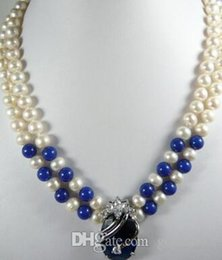 dark blue pearl chain UK - free shipping Noble 2 row White 7-8 Genuine Pearl Lapis lazuli Dark-Blue 18KGP Zircon Crystal pendant women Jewelry Necklace 18inches