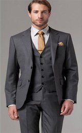 $enCountryForm.capitalKeyWord Australia - New Fashionable Two Button Dark Gray Groom Tuxedos Notch Lapel Groomsmen Best Man Mens Wedding Suits (Jacket+Pants+Vest+Tie) 677