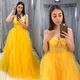 yellow lace dress sleeveless Australia - Charming Yellow Prom Dresses Long 2020 Spaghetti Straps Sleeveless Pleats Lace-Up Back A-Line Graduation Celebrity Party Gowns