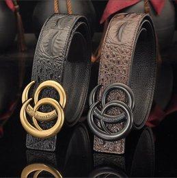 Durable Belts Australia - Leather crocodile brand men's leather belt famous retro designer plain buckle women's leather belt rugged durable fashion belt