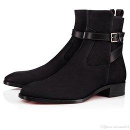 Novo [Box Original, A Super ++] Confortável inferior Red Kicko Apartamento Homens Tornozelo botas de camurça de couro de luxo vestido de festa Retro Botas Masculine venda por atacado
