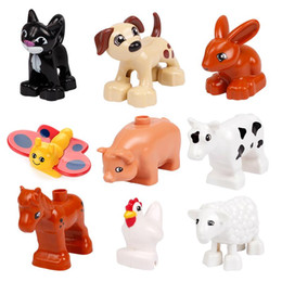 toy farm pigs NZ - Big size Model Building Blocks rabbit pig cat Horse dog Bricks accessory child DIY Toys Compatible with Duplo farm Animals set