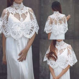 $enCountryForm.capitalKeyWord NZ - New Design Cloak wedding dress High Neck Lace See Through Covered Back Chiffon Beach Garden Bridal Gown Fitted Wedding Gowns With Wraps 2019