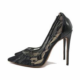 60b2b838d8d537 Casual Designer Sexy lady fashion woman Black wedding shoes women 2018 new  arrival embroidery black high heels pumps 12cm Sexy stilettos