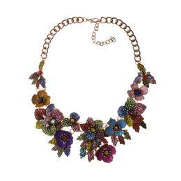 $enCountryForm.capitalKeyWord NZ - wholesale Luxury Multi-color Crystal Rose Flower Wedding Party Statement Maxi Choker Necklace for Women Girl 2019 Elegant Gift
