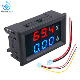 "Digital Amp Meter Panel Australia - Mini Digital Voltmeter Ammeter DC 100V 10A Panel Amp Volt Voltage Current Meter Tester 0.56"" Blue + Red Dual LED Display"