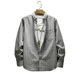 Camicia Uomo PS New Cotton Plaid Camicia da uomo Manica lunga Casual Allentato Youth Grigio, taglia M-4XL