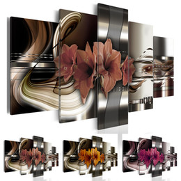 art painting purple flowers oils NZ - 5 Panels Abstract Metal Flowers Painting Purple Flower Oil Pictures Living Room Decoration Paintings 5 Piece Canvas Wall Art No Frame (Unfra