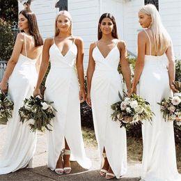Gold beach bridesmaid dresses online shopping - Bohemian Sexy Sheath Beach White Bridesmaid Dress Spaghetti V Neck Sleeveless Backless Wedding Guest Dresses