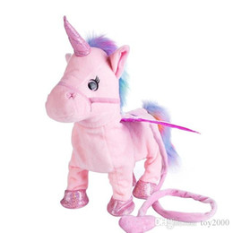 Chinese  35cm Electric Walking Unicorn Plush Toy Stuffed Animals Toy Electronic Music Unicorn Toy for Children Christmas Gifts kids toys manufacturers