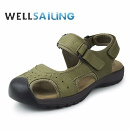 $enCountryForm.capitalKeyWord NZ - New Manly Charms Summer SandalsTrendy Simple Green Brown Casual Shoes For Men Wearable Genuine Leather Thick Rubber Sole